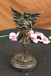 Signed Love Fairy Mythical Figurine With Flowers Bronze Sculpture Art Nouveau Nr