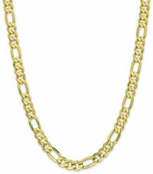 26 10k Yellow Gold 8.75mm Light Concave Figaro Chain Necklace