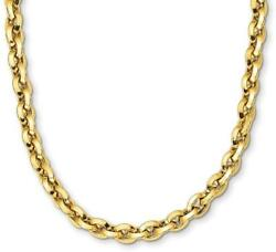17.25 14k Yellow Gold 8.11mm Polished Fancy Knife-edge Rolo Link Chain Necklace