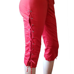 Moschino Cheap And Chic Stretch Red Capri Sexy Hot Pants Side Lacing Sz 10