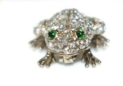 18k White Gold 15ct Round Cut Diamond Pave Setting Frog Pin Brooch-very Good