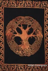 Bohemian Tapestry Twin Size Cotton Wall Hanging Celtic Tree Design Indian Orange