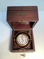 Antique Elgin National Watch Co Father Time Shipand039s Marine Chronometer