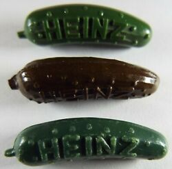 Vintage Heinz Pickle Advertising Pins Green And Brown 2 Eras Lot Of 3 Different