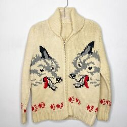 Rare Vintage 1950s Wolf Cowichan Sweater Wool 100