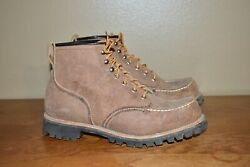 Mens Herters Moc Toe Suede Leather Boots Sz 10 D Made In Usa