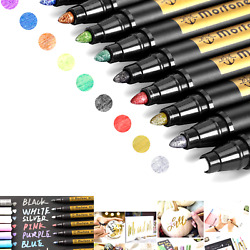 Metallic Marker Pens Morfone Set of 10 Colors Paint Markers for Card Making...