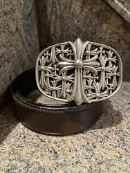 Authentic Huge Chrome Hearts Sterling Cemetery Cross Buckle/ Camouflage Belt