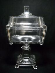 Antique Eapg Adams Large Glass Covered Compote/candy Lid Crystal Wedding C1880's