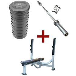 French Fitness Olympic Bumper Plate Set W/7 Ft Olympic Bar 415 Lbs + Bench New