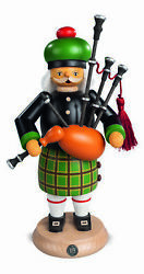 German Incense Smoker Scotsman With Bagpipes, Height 27 Cm / 11 I.. Mu 16304 New