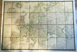 Europe -poland 1835 Charles Picquet Antique Wall Map On Linen With Box