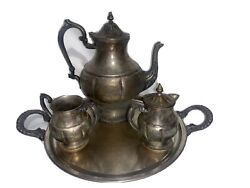 Lehman Brothers Silverwear Silver On Copper. Teapot Creamer Sugar Bowl And Tray