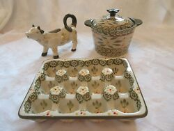 Temp-tations Old World Green Dairy Trio Egg Crate, Cow Creamer,butter Crock