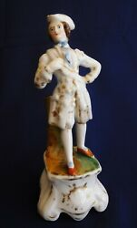 Antique Ceramic Figurine Of A Gentleman With Tricorn Hat...c 1880 Germany