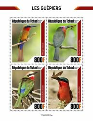 Chad Birds on Stamps 2020 MNH Bee Eaters Red Bearded Bee Eater 4v M S