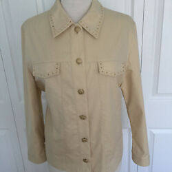 GIVENCHY Women Embellished Casual Creame Jacket Button Close Light Weight SZ 8 $138.00