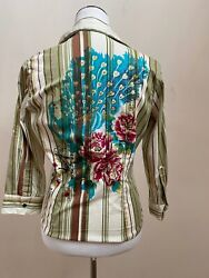 Rare And Wonderful René Derhy Peacock Motif And Colored Whimsical Top - Size S