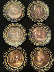 Sevres France 19th Century Set Of Six Cabinet Plates Signed David Teniers