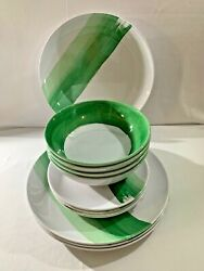Set Of 4 Rachel Zoe Green/white Melamine Dinner And Salad Plates And Bowls 12 Pcs.