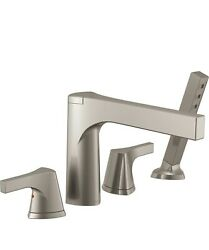Delta Zura T4774-ss Stainless 4-hole Roman Tub Faucet W/hand Shower