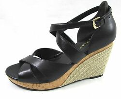 New Cole Haan Black Leather Wedges 8.5 Air Sole Woven Strappy Heels Shoes