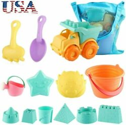 13Pcs Beach Toy Set Sand Bucket Castle Molds with Mesh Bag Toddlers Kids Gifts $18.99