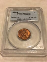 1931-s Pcgs Ms64rd 1c Lincoln Cent Penny Red Pq Great Appeal Obl Low Ser
