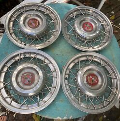 Four 1951 1952 1953 1954 Cadillac Wire Wheel Wheelcovers Hubcaps Oem