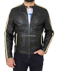 Best Selling Menand039s Authentic Napa Real Leather Black Jacket Stripped Biker Coat