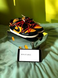 Nike X Off White Dunk Low Blue Michigan Uk 4.5 Us 5.5 Brand New In Box