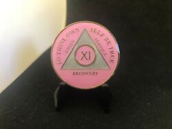 11 Year Pink Silver And Gold Aa Medallion -- Alcoholics Anonymous Chip