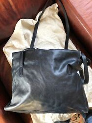 Celine Indigo Large Leather Tote With Red Interior Made In Italy