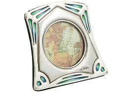 Antique Sterling Silver Enamel Photo Frame By James Deakin And Sons 1904