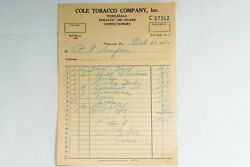 Coal Tobacco Company Tobacco And Cigars Letterhead Sign Pottstown Pa 1936