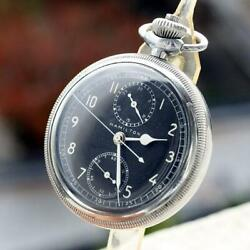 Hamilton Pocket Watch Model23 Military Chronograph Black 1940s Used Excellent