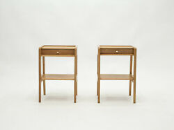 French Pair Of Modernist Night Stands One Drawer Oak Wood 1950s