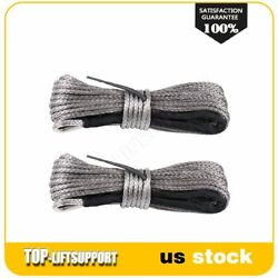 1/4 X 50ft Winch Synthetic Line Cable Rope Recovery W/ Thimble Sleeve 2pcs