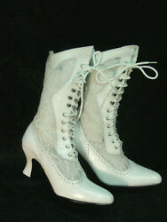 Oak Tree Farms White Lace And Leather Vesper Old West Granny Vintage Boots 8