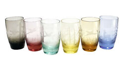 6 Moser Multi-colored Art Glass Tumbler Goblets In Birds Of The Wild, Signed