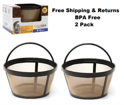 2 Pack Goldtone Reusable 8-12 Cup Basket Coffee Filter For All Mr. Coffee Makers