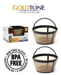 2 Goldtone Reusable 8-12 Cup Basket Coffee Filters For All Mr. Coffee Makers