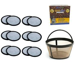 12 Goldtone Charcoal Coffee Water Disks + Basket Filter For Mr. Coffee Makers