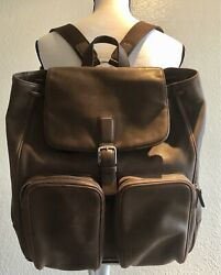 1300 Jumbo Coach Backpack Vintage Brown Leather. Unisex Drawstring/ Snap Closer