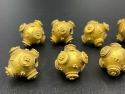 Vintage Jewelry Antique Ancient Mesopotamian Old Gold Beads From Roman's Time
