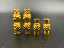 Rare Vintage Antique Old Gold Jewelry Beads From Ancient Chines Han Dynasty