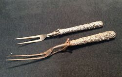 Two2 Early S. Kirk Repousse Sterling Silver Handled Meat Forks