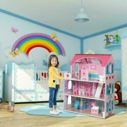3-level Childrenand039s Wooden Dollhouse Kids Pretend Play House Cottage W/ Furniture