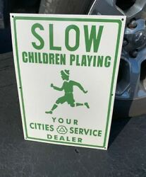 Lot Of 5 Cities Service/slow Childern Playing Heavy Porcelain Sign 20x 14