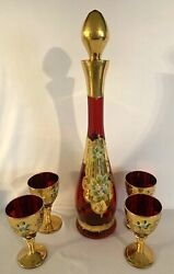 Victorian Ruby Red Murano Italian Glass Decanter And Four 24 Kt. Gold Wine Glasses